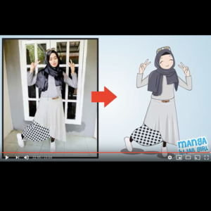 how to draw manga hijab girl from photo in corel draw video thumbnail