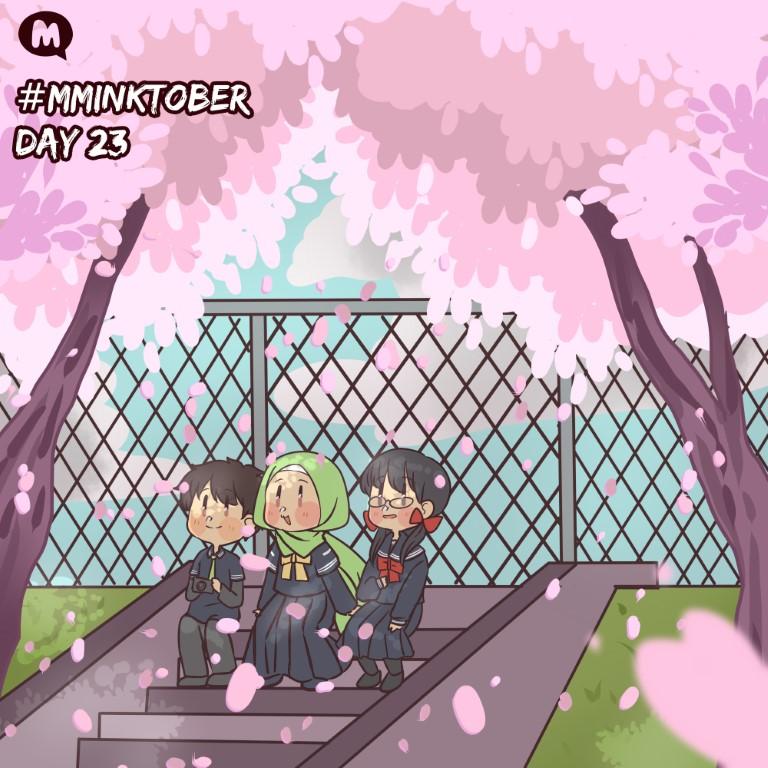 Day 23: Sura, Aya and Nao-senpai enjoying the cherry blossoms