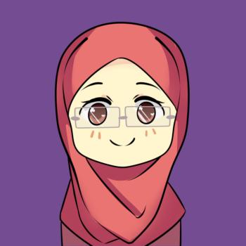 hijabi muslimah wearing glasses icon illustration